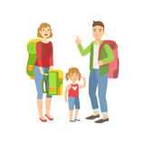Family With Backpacks Preparing For Hike Royalty Free Stock Image