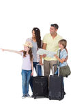 Family with bags looking away while girl pointing Stock Images