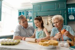 Family baking a cake royalty free stock photo
