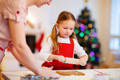 Family baking on Christmas eve Stock Photos