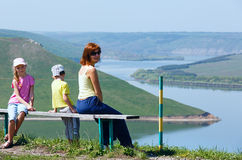 Family and Bakota spring view (Ukraine) Royalty Free Stock Image