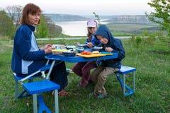 Family and Bakota spring view (Ukraine) Stock Image