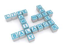 Family balance sign. Letter blocks in crossword puzzle shape spelling words associated with life, work and family balance Stock Image