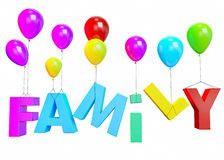 Family on balloons Royalty Free Stock Images