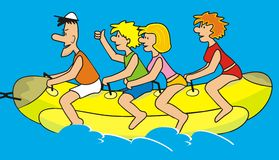 Family and banana. Family on vacation. A married couple with children ride on water banana Stock Photo