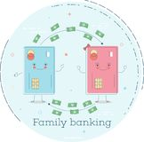 Family banking concept in line art style. Family banking trendy concept in line art style. Banking and finance, ecommerce service sign, business technology Royalty Free Stock Photo