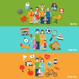 Family Banner Set Royalty Free Stock Images