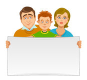 Family with banner Royalty Free Stock Images