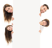 Family with banner Royalty Free Stock Photo