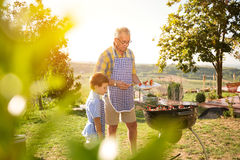 Family with barbecue in park Royalty Free Stock Photo