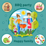 Family barbecue party Royalty Free Stock Photos