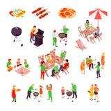 Family Barbecue Picnic Isometric Icons Stock Photos