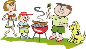 Family barbeque cartoon vector illustration