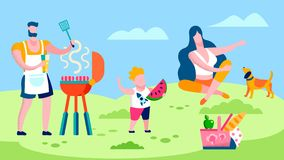 Family Barbeque in Countryside Flat Illustration. Cartoon Father Cooking Sausages. Female Pet Lover Sitting on Lawn. Cute Toddler Tasting Watermelon Slice stock illustration