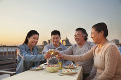 Family barbeque party, toast Stock Photo