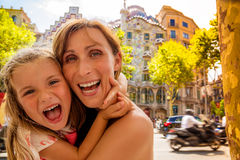 Family barcelona gaudi house Royalty Free Stock Images