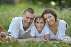 Family with a basket Stock Photography