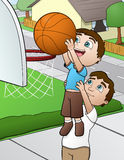 Family Basketball Game. This is an illustration of a father and son playing basketball together Royalty Free Stock Photography