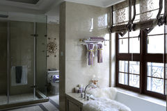 Family bath room with window decoration Stock Photography
