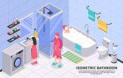 Family Bathroom Isometric vector illustration