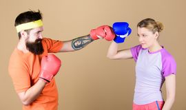 Family battle. Boxing sport concept. Couple girl and hipster practicing boxing. Sport for everyone. Amateur boxing club stock photo