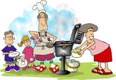 Family BBQ vector illustration