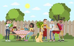 Family on BBQ. Family on BBQ party on the backyard smiling and eating vector illustration