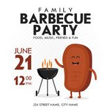 Family BBQ Party Invitation Template. Cute Steak Character Barbecue Time. Retro Background Vector Illustration.  Stock Photos