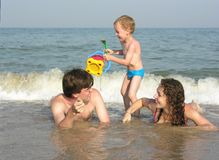 Family on beach. Family with son on beach Stock Images