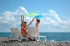 Family on beach Stock Photo
