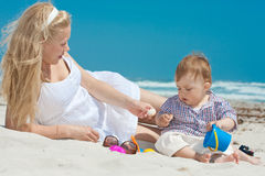 Family on a beach. Child and mother on a beach Stock Photography