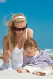 Family on a beach. Child and mother on a beach Stock Image