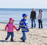Family at beach Stock Image