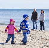 Family at beach Stock Image