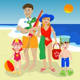 Family at the beach vector illustration