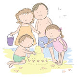 Family at the beach. Hand drawn picture of a family beach vacation, illustrated in a loose style. Mom and dad watch over their son and daughter build a sand Royalty Free Stock Photo