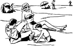 Family At The Beach stock illustration