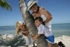 Family on Beach. Family hugging a palm tree trunk on the beach Stock Photos