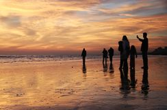 Family at the Beach. Silhouettes of a family at the beach at sunset Royalty Free Stock Photos