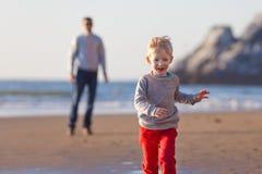 Family at the beach in california Stock Photos