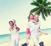 Family Beach Enjoyment Holiday Summer Concept Stock Images