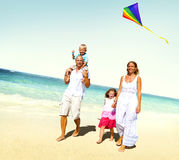 Family Beach Enjoyment Holiday Summer Concept.  stock image