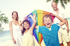 Family Beach Enjoyment Holiday Summer Concept Royalty Free Stock Image