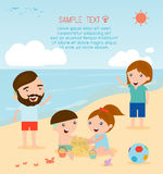 A family at the beach. Family on the beach. Happy family Royalty Free Stock Images
