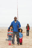 Family On Beach Fishing Trip Royalty Free Stock Photo