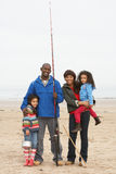 Family On Beach Fishing Trip Royalty Free Stock Photography