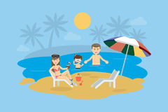 Family at the beach. Happy smiling parents with child swim in the ocean, play in the sand and enjoy the sun Stock Photography
