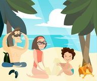 Family beach holidays vector illustration Royalty Free Stock Images