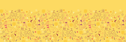 Family at the beach horizontal seamless pattern Royalty Free Stock Photo