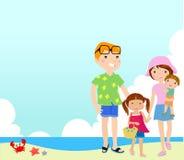 Family on beach. Illustration of family on beach Stock Photos